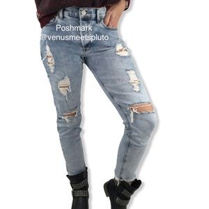 Express Vintage Skinny High Rise Distressed Jeans